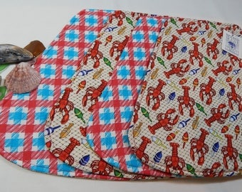 Lobster Placemats, Wedge Placemats, Small Table Mats, Reversible Mats