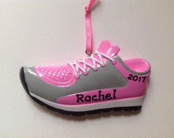 Personalized Christmas Ornament Pink Sneaker , Marathon, Running, Coach, Family, Friends, Teacher, Co-Workers, Gift Tag