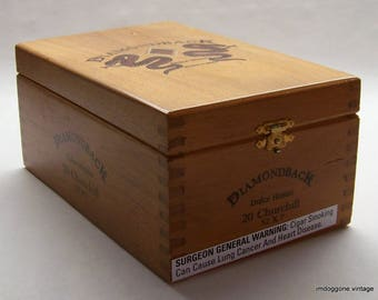 Cigar Box, Wooden Diamondback Churchill Cigar Box, Craft Box, Storage Box
