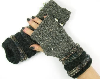 knit fingerless gloves knitted arm warmers banded knitted fingerless mittens  in gray and brown tones PiaBarileAccessories