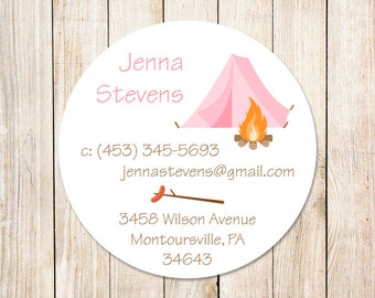 PRINTABLE summer camp calling cards for girls . pink camping tent . scouts friends exchange cards . You Print