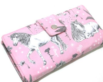 Handmade women wallet - White unicorns on pink - Sketched unicorns on pink - ready to ship - clutch purse - gift ideas for her