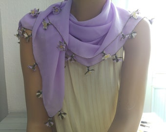 lilac crepe scarf with needle lace flowers