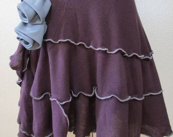 Purple color Cashmere Skirt with rose decoration and ruffled edging throughout plus made in USA (v51)