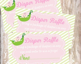 Sweet Pea -Diaper Raffle cards -baby shower-new  baby - baby sprinkle