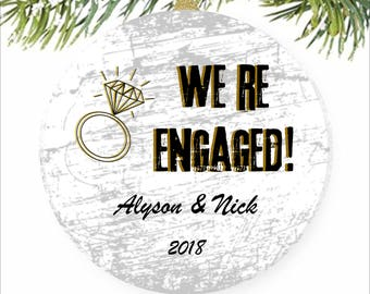 Engagement Ornament, Engaged Ornament, Personalized Engagement Gift, Engagement Christmas Ornament, Wedding Ornament, Just Engaged Gift Her