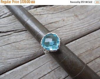 ON SALE Beautiful Swiss blue topaz ring handmade in sterling silver