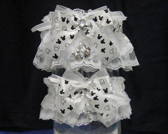 White Disney Mickey & Minnie Mouse Wedding Garter Set