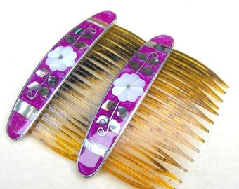 2 vintage Mexican hair combs matched pair abalone mother of pearl hair accessory decorative comb hair ornament (AAF)