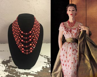 Radiant Red Love  - Vintage 1950s Red & Coral Lucite Facet Cut Pearl Massive 6 Strand Necklace