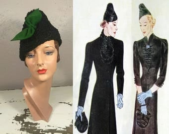 It's All Quite Up In the Air - Vintage 1930s Black Persian Lamb Peaked Slouch Toque Hat w/Green Felt Bow
