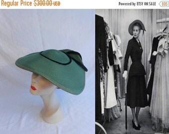 Anniversary Sale 35% Off She Invaded the Closet - Vintage 1950s LaRose Dark Moss Green Straw & Velvet Oval Platter Wide Brim Hat