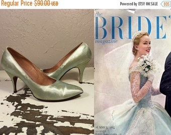 Anniversary Sale 35% Off A Different Bride  - Vintage 1950s Mint Green Satin Pointed Toe Pumps Heels Stilettos -  7