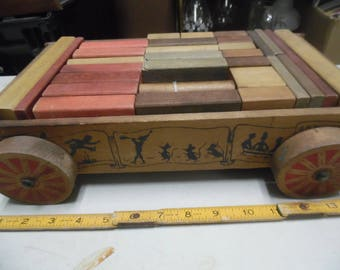Vintage Holgate wood wagon original blocks, wood blocks, hollgate toy, wood buiding blocks,