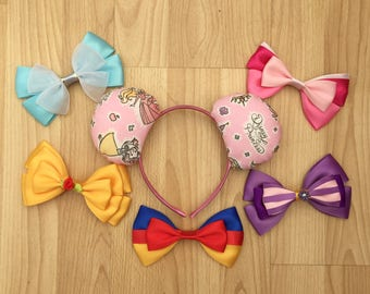Disney Princess inspired Mickey/Minnie Disney ears featuring princesses like Belle, Ariel, Aurora, Cinderella, Snow White and Rapunzel