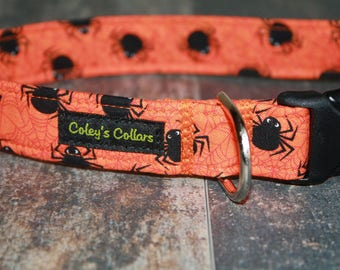 "Dog Collar Medium 1"" Ready to Ship Sale  ""The Spidey in Orange"""