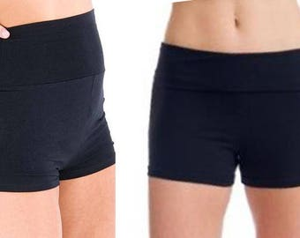 Bette swim exercise shorts with fold over wide waistband  in solid colors
