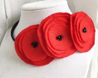 Red floral poppy headband, classic WWI veterans poppies, bright flower crown flower