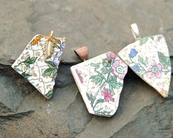 3 Piece Retro Ceramic Tile Chip Pendants