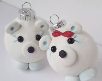 Polar Bears Mini Christmas Ornaments, FREE SHIPPING