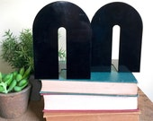 Vintage Metal Black Bookends, Arch Shaped, Post Modern,  Industrial Decor, Bookend Set