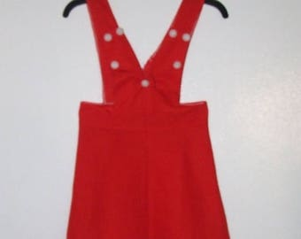 ON SALE Lovely Red Highwaist Suspender Skirt/Jumper Mini Dress Bust 30 Waist 24 Hip 32