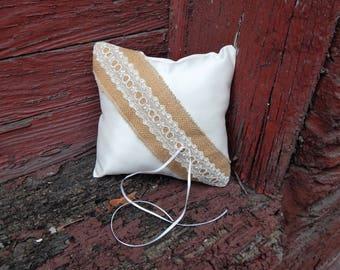Satin and Burlap Ring Bearer Pillow