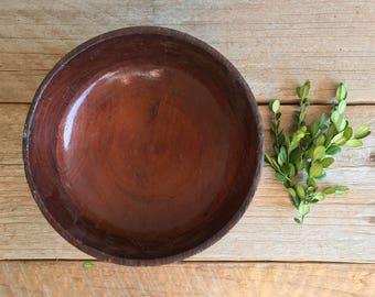 Vintage Wooden Bowl // Vintage Housewares // Dark Wood Bowl