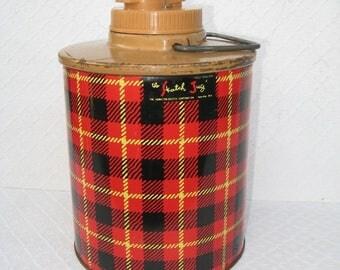 Vintage Skotch Jug, As-Is, For Display Only, Red Plaid, 1950s
