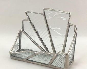 Multiple Clear Texture Hand Crafted Stained Glass Business Card Holder