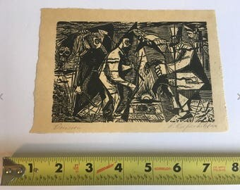 Vintage Antique 1949 ROBERT KNIPSCHILD Art Wood Print Listed Modern Artist DECISION