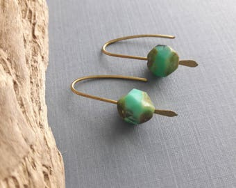 Brass And Blue Glass Earrings