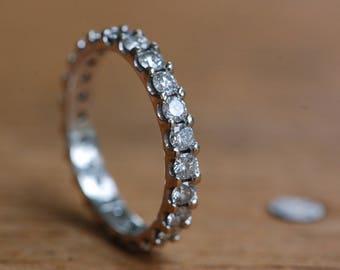 Vintage 14K white gold pavé brilliand cut diamond eternity band