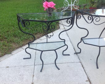 METAL SCROLL TABLES / Pair of Vintage Metal Side Tables / Unique Shape with. Glass / Cottage Prairie Style at Retro Daisy Girl