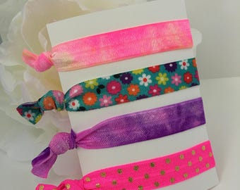 Elastic Hair Ties, Pony Tail Holder, Neon Hair Ties, Tie Dye Hair Ties