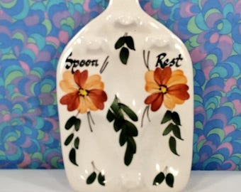 FINAL 50% OFF Vintage Retro Toni Raymond Pottery 3 Spoon Rest 1960s 1970s Flower Power