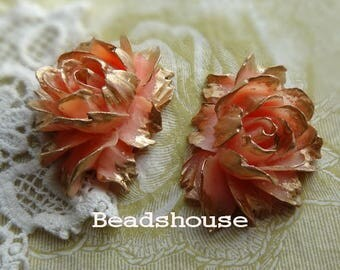 34-00-CA  2pcs Hight Quality Cabbage Rose with Golden Petals - Pink