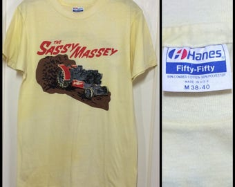 1980's Sassy Massey Monster Tractor Pulling Truck Hot Rod Drag Race T-shirt size Medium 17x25 very used Hanes Weare New Hampshire Knoxland