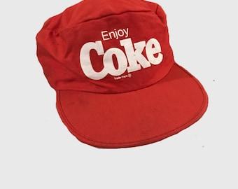 Vintage 80s Coke Coca Cola painters cap hat