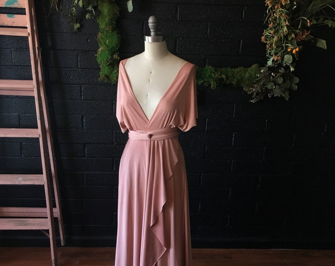 Cameo Dusty Peach TULIP HEM CUT Long Octopus Convertible Wrap Gown- Customize Size, Length- Plus Size, Maternity, Bridesmaids, etc.