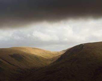 landscape print, landscape photography, fine art photography, Scottish borders, hill walking, large wall art, office wall art, canvas art
