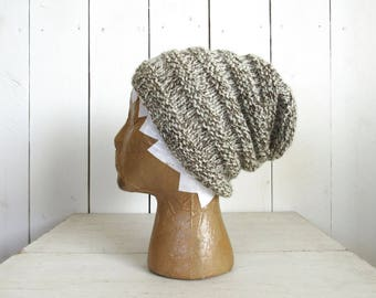 Slouchy Wool Beanie Hand Knit Accordion Toque All Natural 100% Wool More Color Options