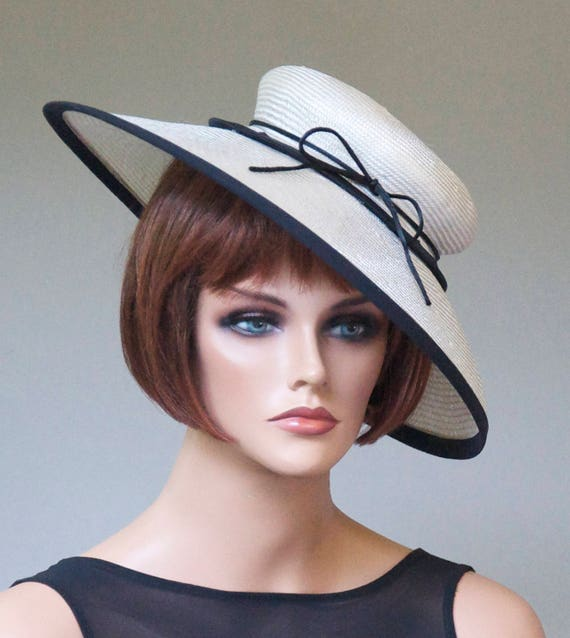 Wedding Hat, Black & White Hat, Derby Hat, Saucer Hat, Church Hat Formal Hat Kate Middleton Hat, Royal Ascot Hat Special Occasion Event Hat