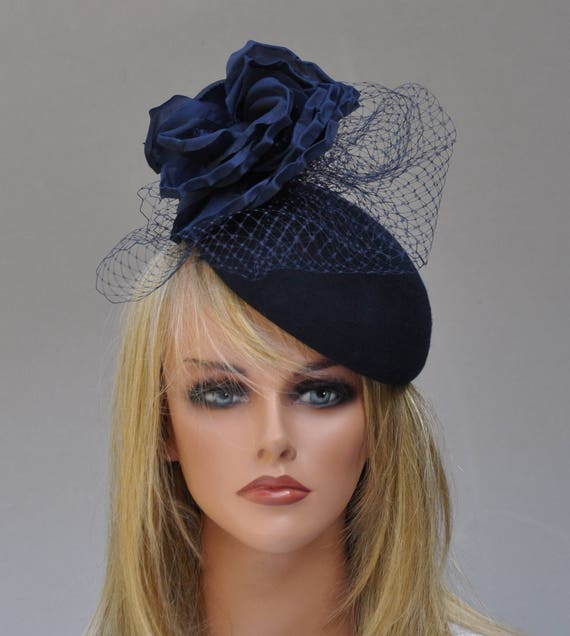 Derby Fascinator, Wedding Hat, Wedding Fascinator, Cocktail Hat, Navy Pillbox, Formal Hat, Winter Hat, Funeral Hat