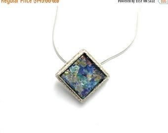 Summer Sale Beautiful 925 Sterling Silver Roman Glass Pendant Necklace