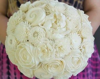 Sola flower bouquet,  ivory bouquet, natural bouquet,  dried flowers, everlasting flowers,  wooden flower,  bridesmaid bouquet,  rustic