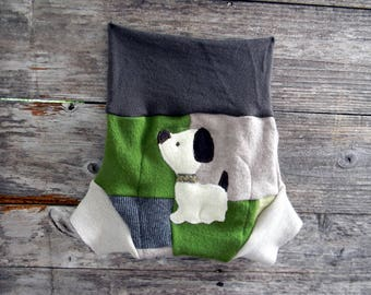 Upcycled Wool/ Cashmere Soaker Cover Diaper Cover With Added Doubler Gender Neutral Patchwork With Puppy Applique LARGE 12-24M