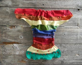 Upcycled  Wool Nappy Cover Diaper Wrap Cloth Diaper Cover One Size Fits Most Rainbow Colors/ Beige & Burgindy