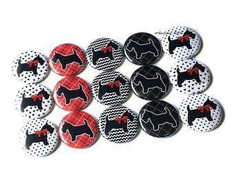 """Scottie, Dog, Terrier, Red, Black, White, 1"""", Button, Scottie Decor, Dog Pin, Dog Button, Dog Flatback, Dog Pinback, Black Dog, Scottie Dog"""