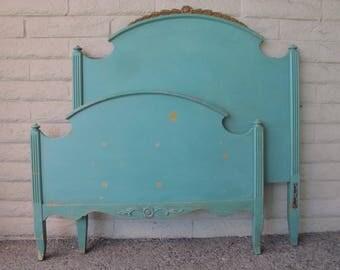 Vintage Twin Bed Headboard & Footboard Green 1920s - 30s